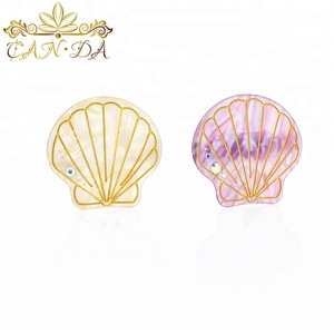 High quality hair accessories grip rhinestone decorative cellulose acetate scallop kids hair clip