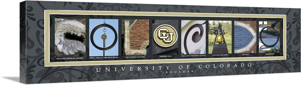 "greatBIGcanvas Gallery-Wrapped Canvas entitled Colorado - University of Colorado Campus Letters by Campus Letter Art 48""x13"""