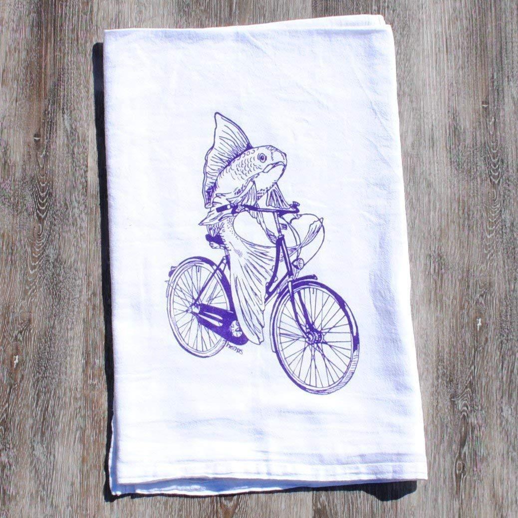 "Kitchen Tea Towel - 26"" x 25"" - Flour Sack 100% Cotton Purple Fish on a Bike"