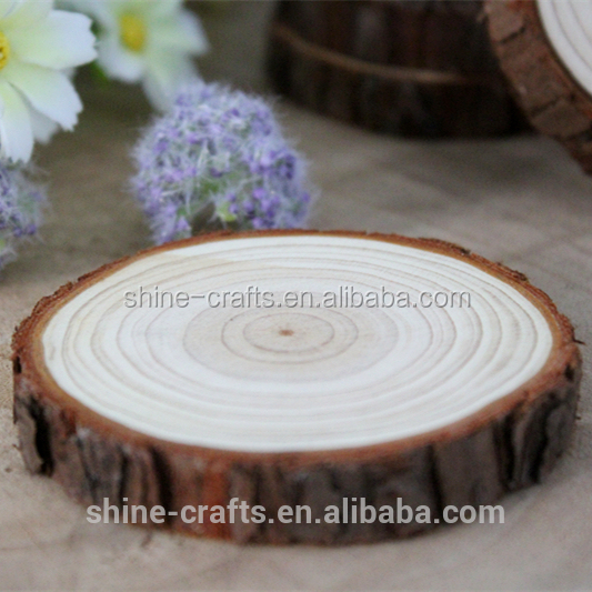 Round Blank Natural Rustic Wood Slices / Wood Coasters with bark