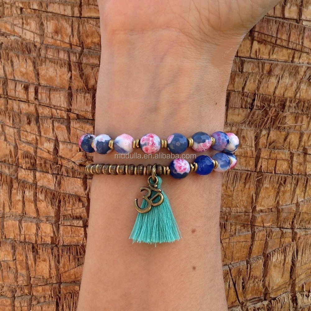 B16030703 New Double Strand Agate Beaded Om Charm Bracelet Stone Jewelry Bracelets With Tassel For Women