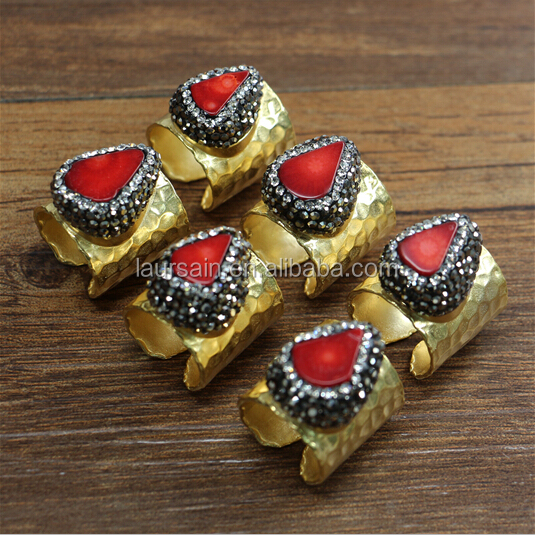 LS-D4240 Newest!! Natural pave red coral brass ring with matte gold plated, Gorgious designer coral rings