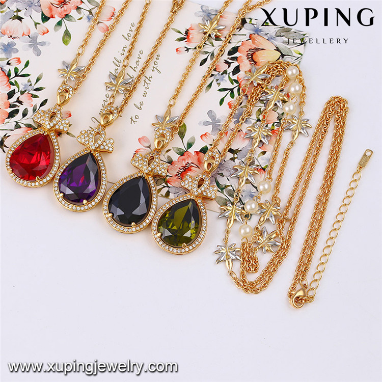 43311 xuping multicolor copper fashion necklace natural stone women necklace