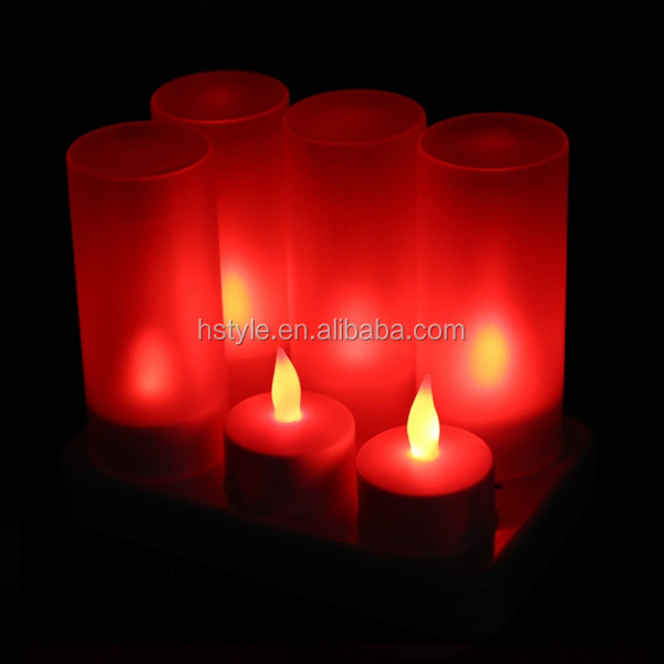 Led Rechargeable Flameless Tea Light Candles With Diffused Votives SNL096