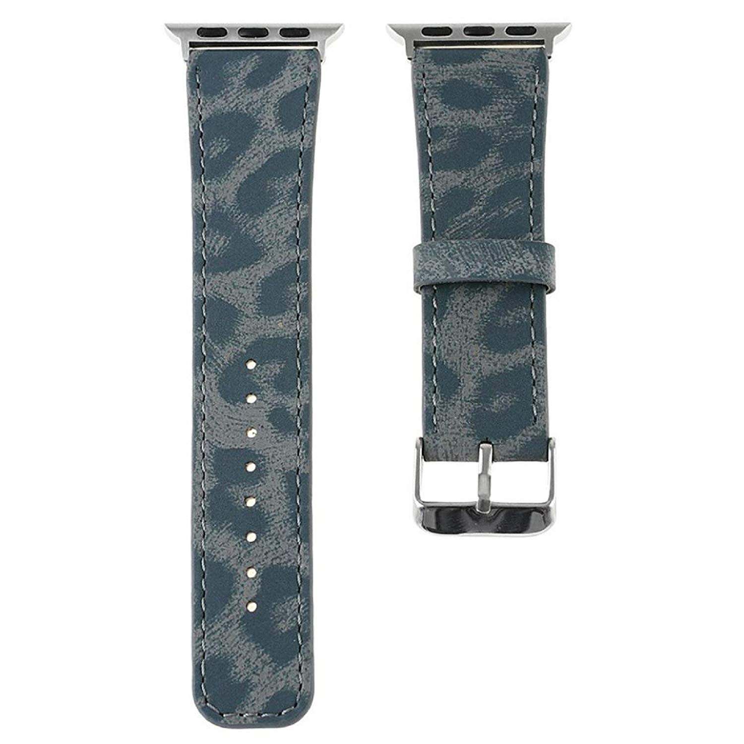 Owill Durable Leather Leopard Striped Pattern Strap Replacement Watch Band Wrist Strap For Apple Watch 38MM,Suitable Wrist 160-225MM (Blue)