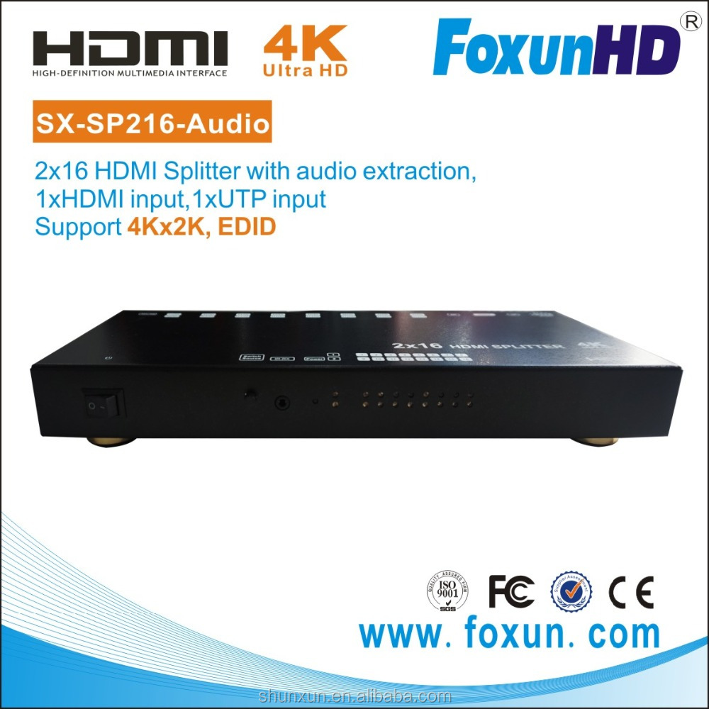 Strongest distributor HDMI 2 to 16 with 50m UTP input, & Audio optical extract output.
