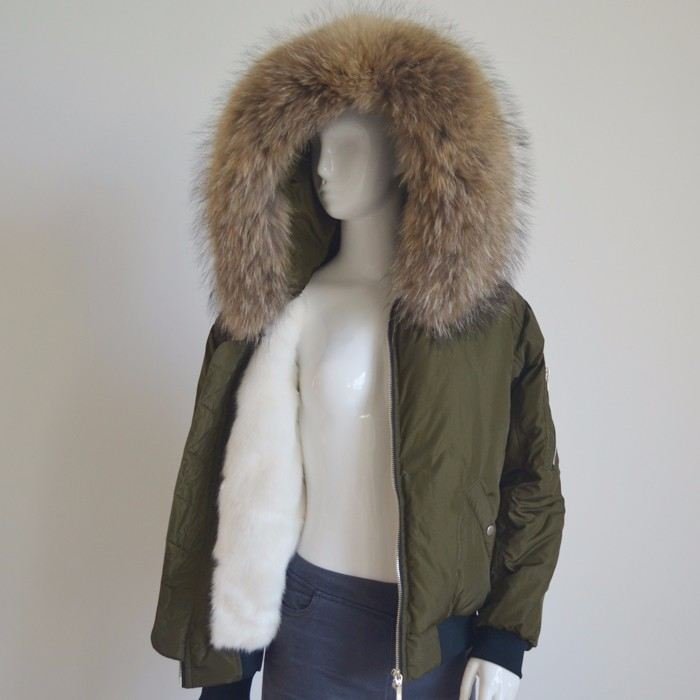Myfur Man Reversible Jacket with Real Raccoon Fur Hooded Bomber Jacker
