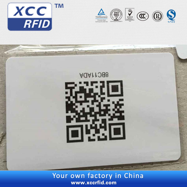 Blank pvc id card size cr80 with UID QR code