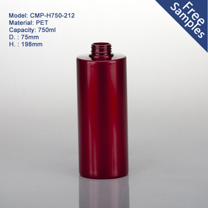 Large cylinder round red 750ml plastic pet bottle with pump spray