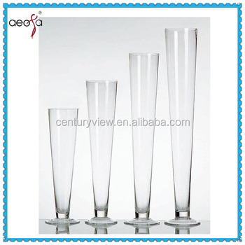 Round Tall Trumpet Large Round Clear Glass Vase Buy Tall Glass