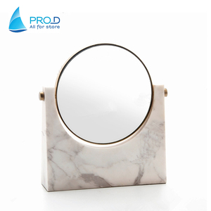 Factory Price White Resin Marble Decorative Cosmetic Mirror Stand