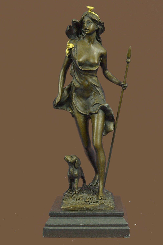 "Handmade European Bronze Sculpture 14""x5""... 9 LBS ...Signed Original Aldo Vitale Nude Diana The Huntress And Her Dog (1XB-STE-3964BG) statue statues figurine figurines nude décor sculpture"