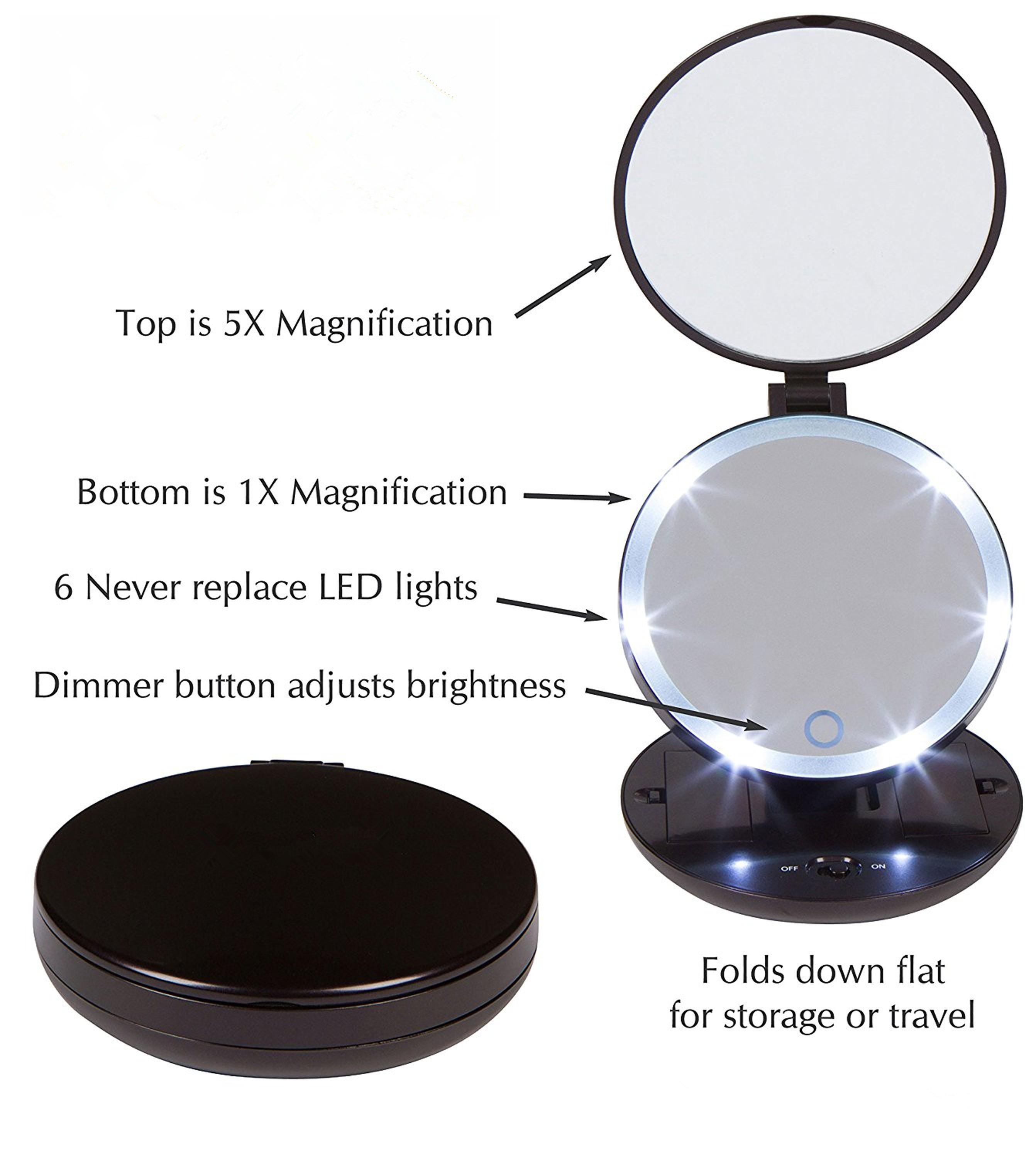 Portable Folding Lighted Magnifying Pocket Compact Led