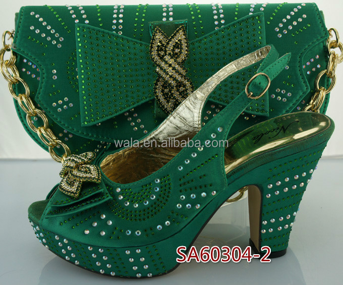 ladies green set 2 shoes with italian fashion shoes SA60304 sets rhinestone 8g767