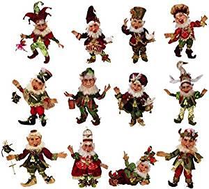 Mark Roberts Elves Twelve Days of Christmas Elf Set of 12, Small Sizes 51-68230