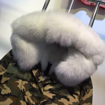 1638c59551 Fashion White Fox Fur Coats For Women Wear,Camouflage Cream Remove Fox Fur  long coats