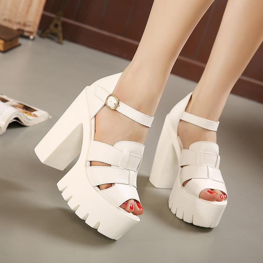 Fashion 2016 new summer wedges platform sandals women Black and White open toe high heels female