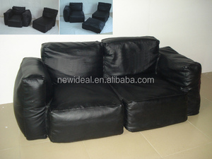 Black color PU sectional bean bag sofa /beanbag sofa (NW1323)