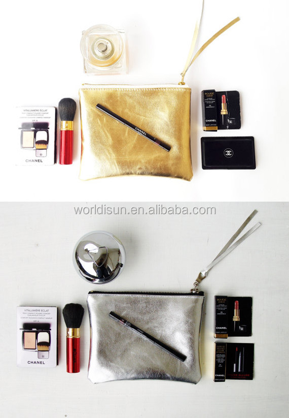 Custom fashion mini zip makeup bag toiletry bag,washable kraft paper gold cosmetic bag