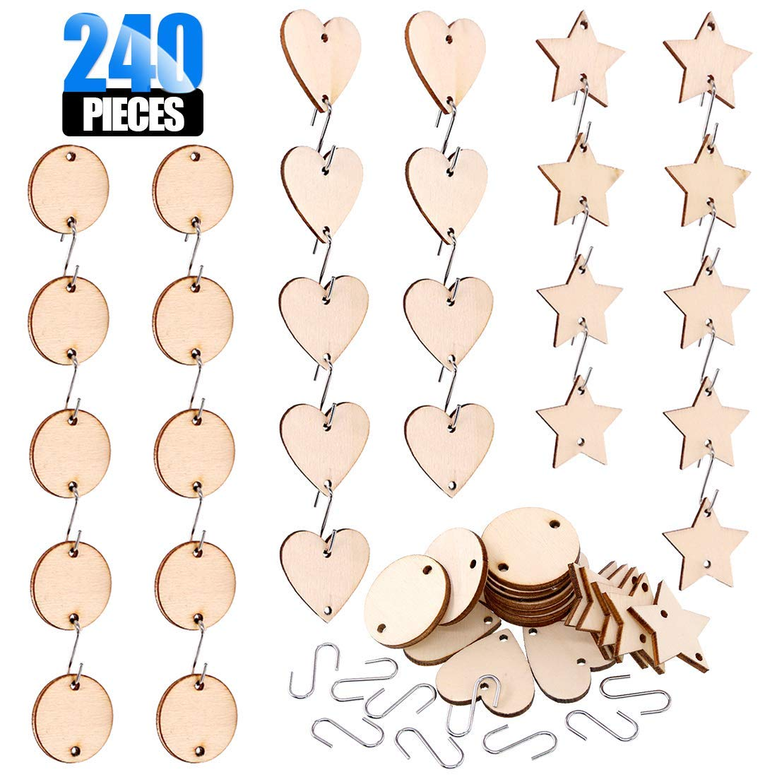 Glarka 240-Pieces 1.2 inch Wooden Star/Circles / Heart Tags with Holes and Stainless Steel S Shaped Hook Connectors for Birthday Boards, Valentine, Decorations and DIY Crafts