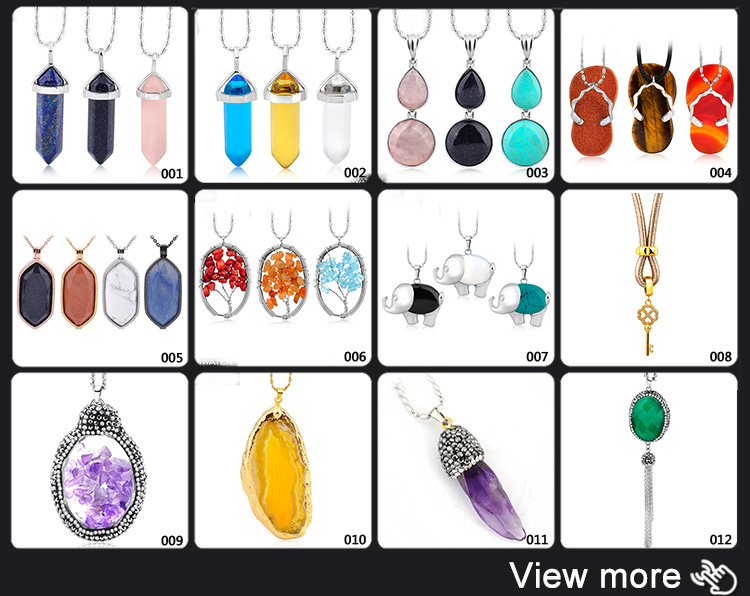 Trendy 2018 New Design Gemstone Natural Stone Design Interchangeable Pendant Necklace