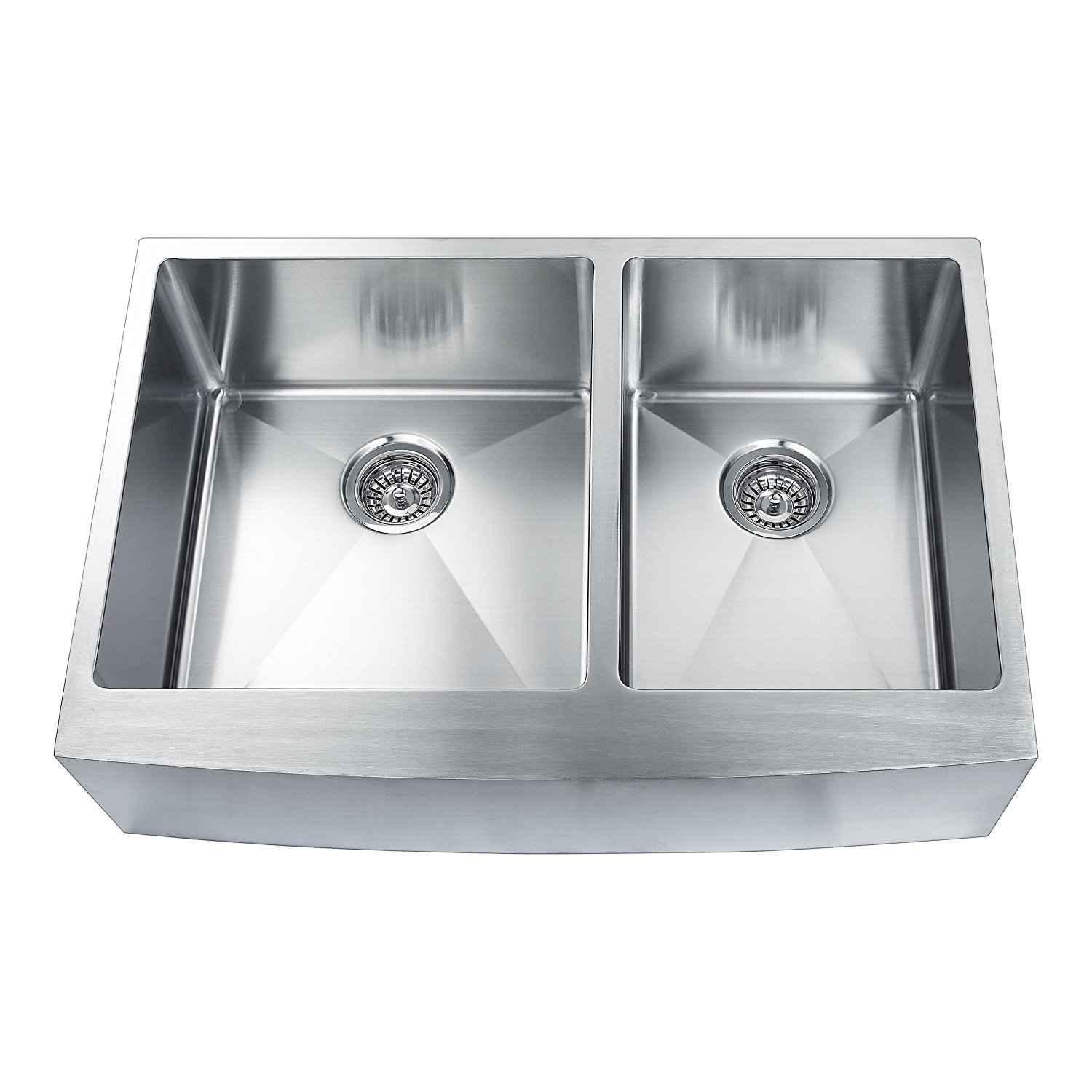 BOANN SKR3322D2 Hand Made Skirt Front R15 60/40 Double Bowl 33 x 22 1/4-Inch Undermount 304 Stainless Steel Kitchen Sink, 16-Gauge