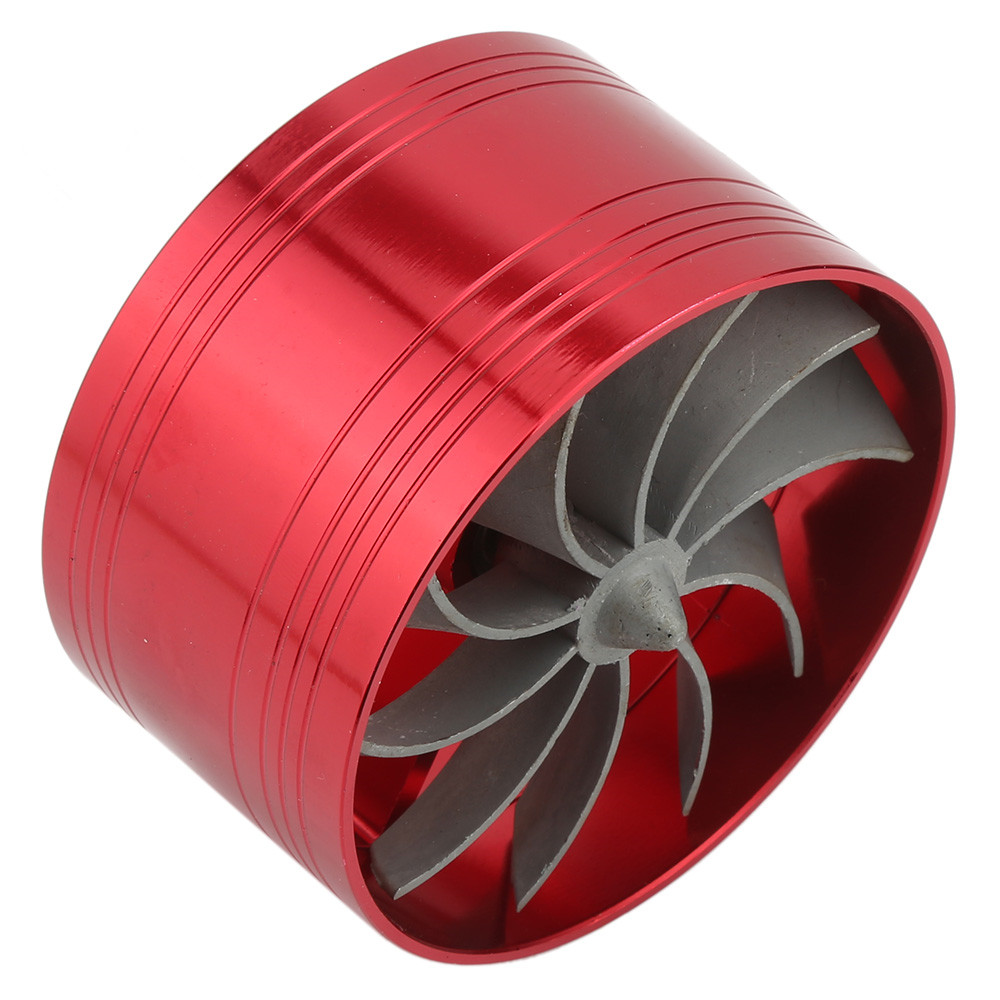 New Red Air Intake Turbonator Dual Fan Turbine Turbo Supercharger Gas Fuel Saver