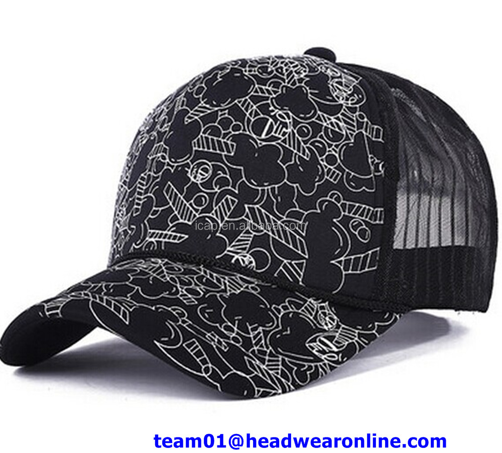 7b8aa08d446 Custom printed half mesh trucker cap customised personalised snapback hats