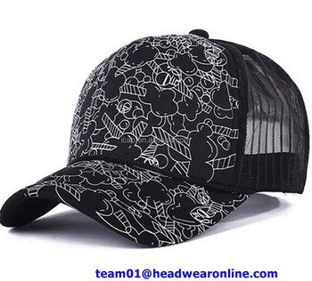 753ecb08e43e5 Custom printed half mesh trucker cap customised personalised snapback hats