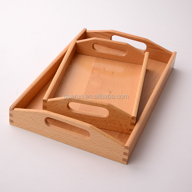 cheap custom small wood serving tray with handle