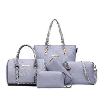 online shopping free shipping elegant bag classic Crocodile Grain Women Tote  Bag Set embossed pu material 199bab3aec20c