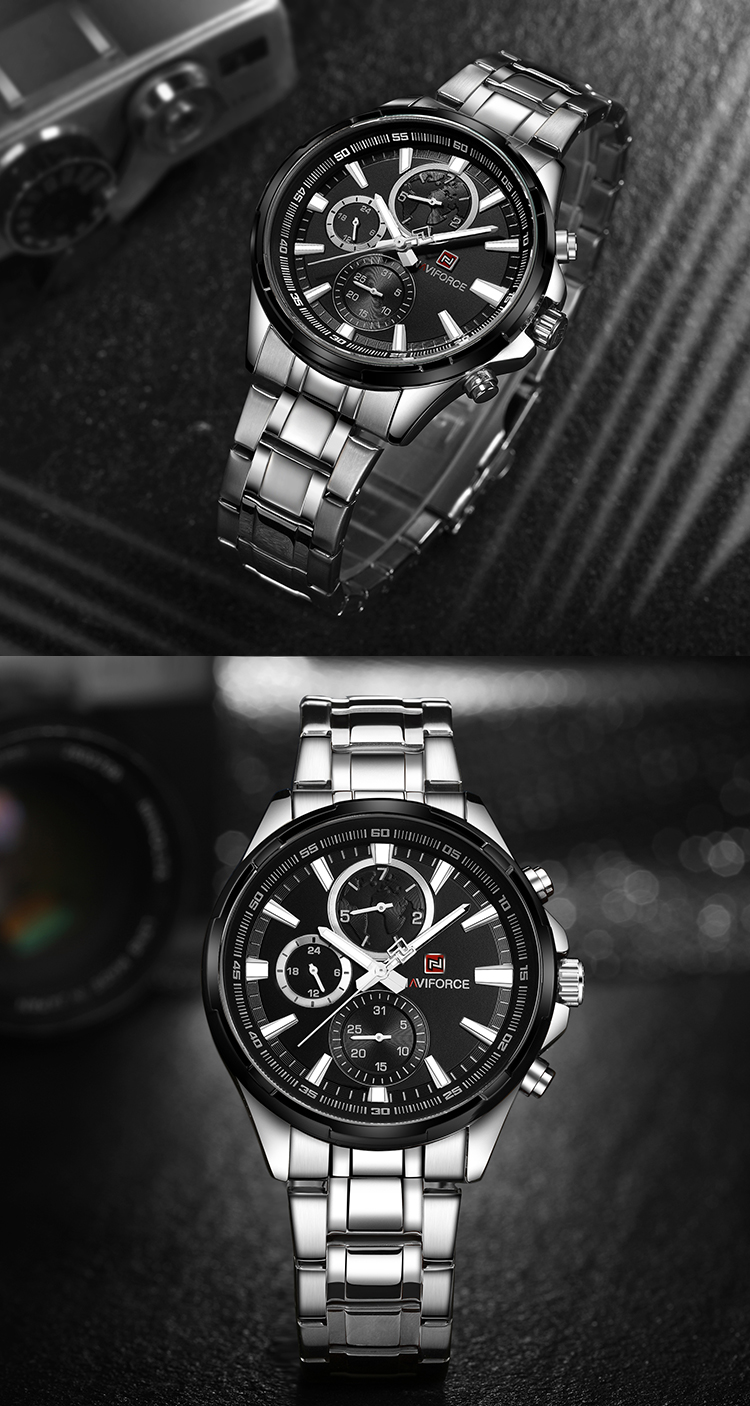 Naviforce 9089 Watch Men Brand Luxury Black Quartz Watch Stainless Steel Waterproof Casual Sport Male Clock Mens Wrist Watches