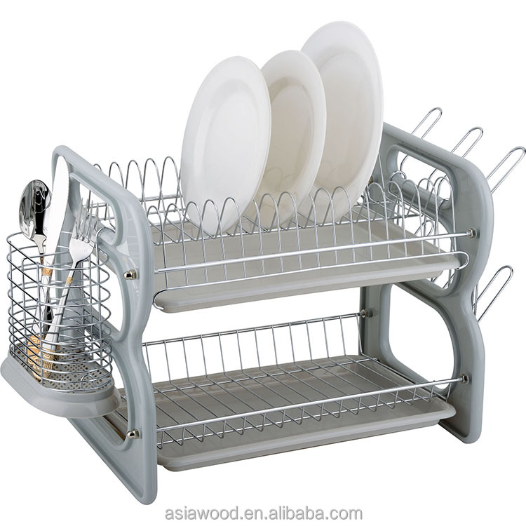2層皿ホルダー、s形はステンレス鋼トレイ付きキッチンディッシュラックを組み立てます (awk105)