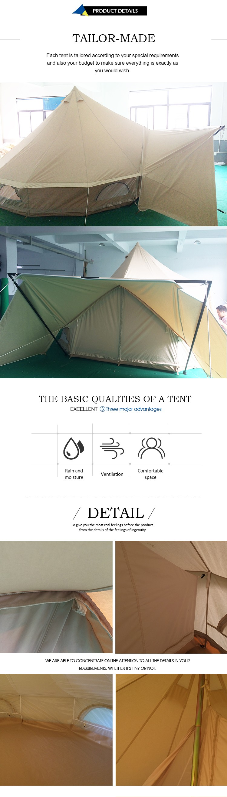 High quality large 5m canvas bell tent with canopy for family outdoor glamping