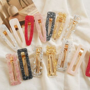 Super Dream Hair Clips Japanese Retro Hollow Geometric Acrylic Hairpin Bangs Clip