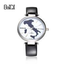 Italy Map Dial Quartz Watch Genuine Leather Ladies Vintage Wrist Watches
