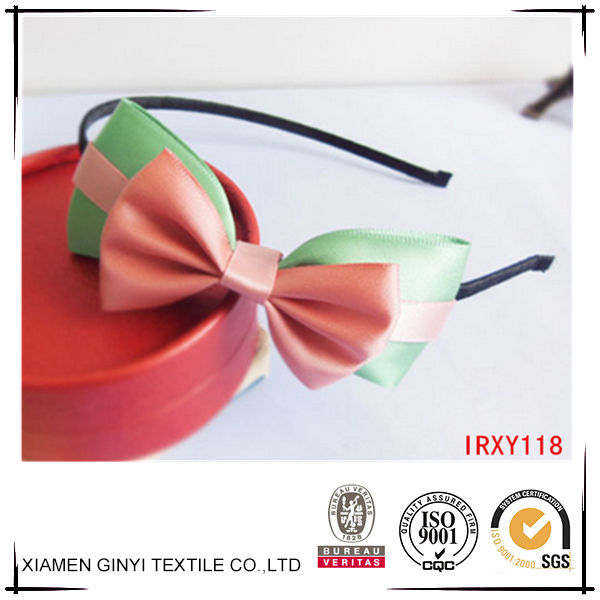 Best selling fashion girls bow boutique satin plastic headband