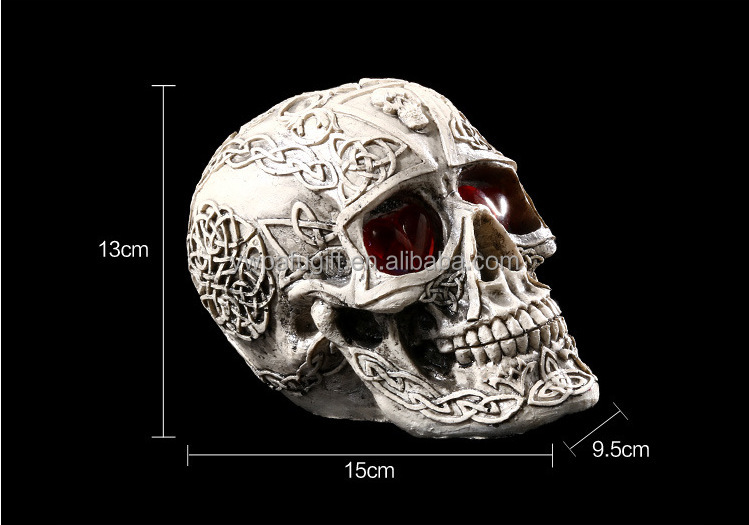Day of the dead resin skull with LED Halloween party decoration