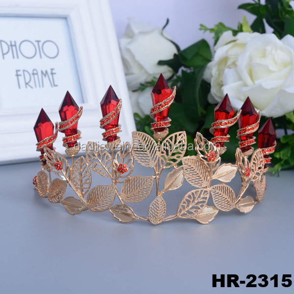 Hair accessories hair jewelry golden pierced leaves fancy strass gold plated jewelry wholesale crowns and tiaras