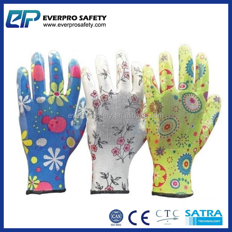 Women Gardening Landscaping Rubber Nitrile Coated Safety Work Gloves