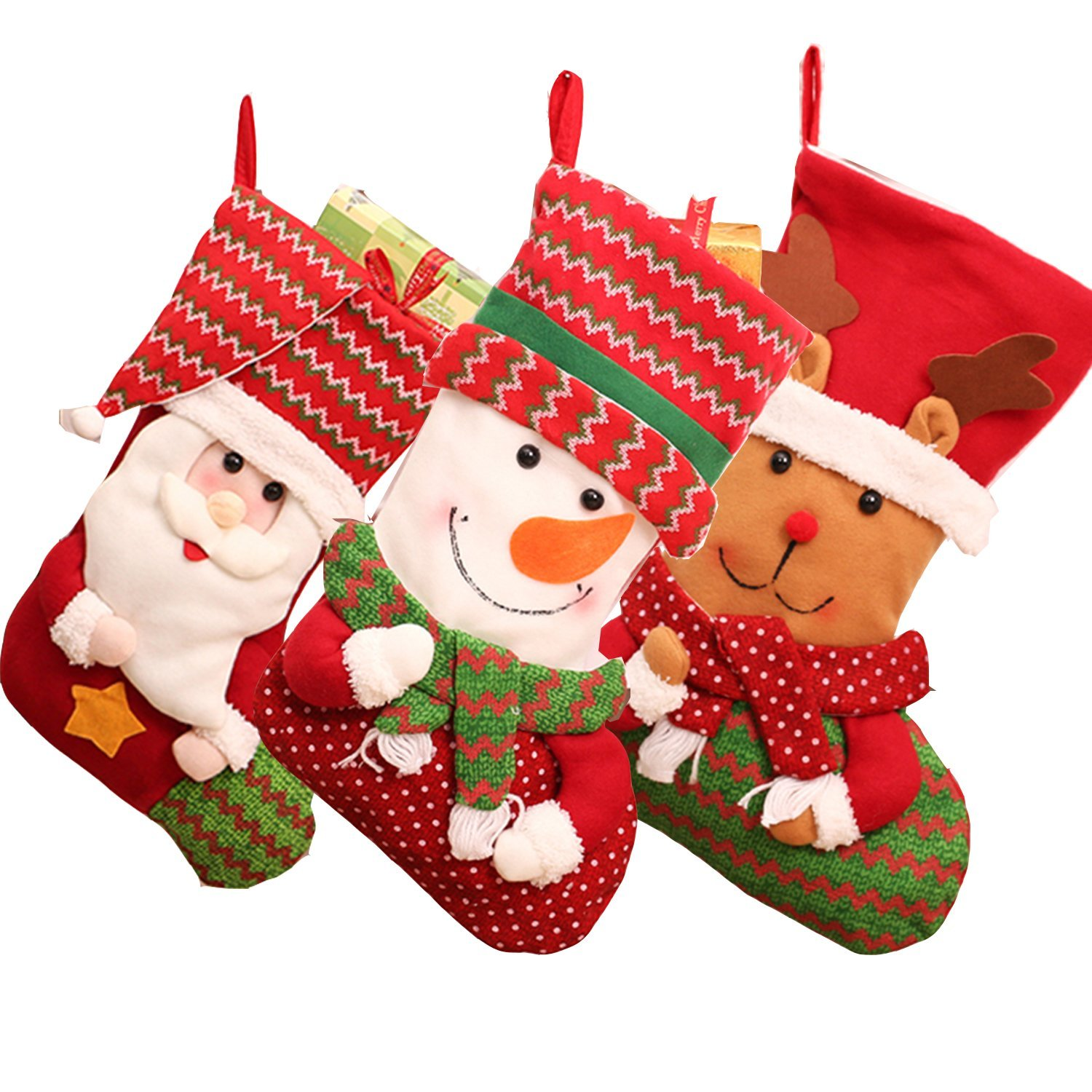 get quotations prefilled christmas stockingsym 3 pcs set 18 inch 3d cute family christmas stockings with - Pre Filled Christmas Stockings