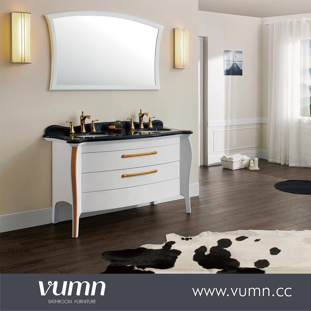 2016 hoge Kwaliteit Eiken massief hout badkamer meubels, badkamermeubel met marmeren