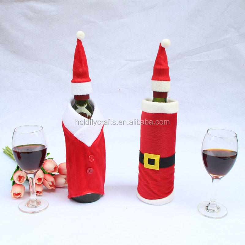 Hot sale bottle covers for wine santa claus wine bottle outfits
