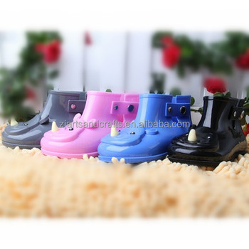 New product Kids jelly rain shoes cute cartoon rhinocerosdesign