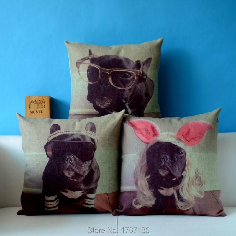 2015 Vintage Cushion Cool French Bulldog Pillow Linen Cushion Decorative Pillow Capa Funda Home Decor Sofa Throw Pillow Cushion
