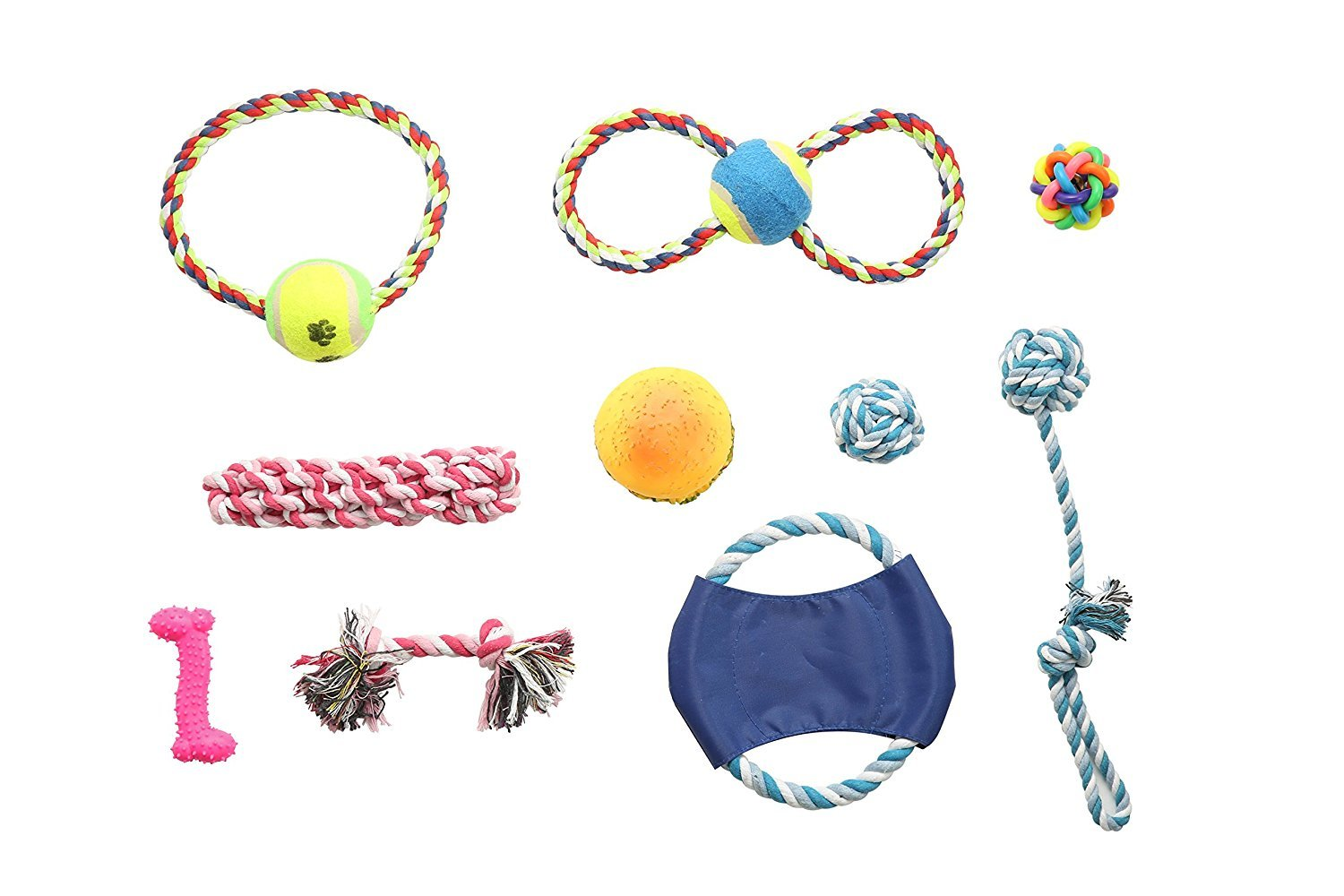 TuTu Pets Dog Toys Jumbo Set of 11 Pcs Durable Doggie Toys (Toy Balls Chew Toys Flying Discs Toy Ropes Squeak Toys Dogs Accessories Interactive Dog Toys for Clean Teeth for Fun and for Training)