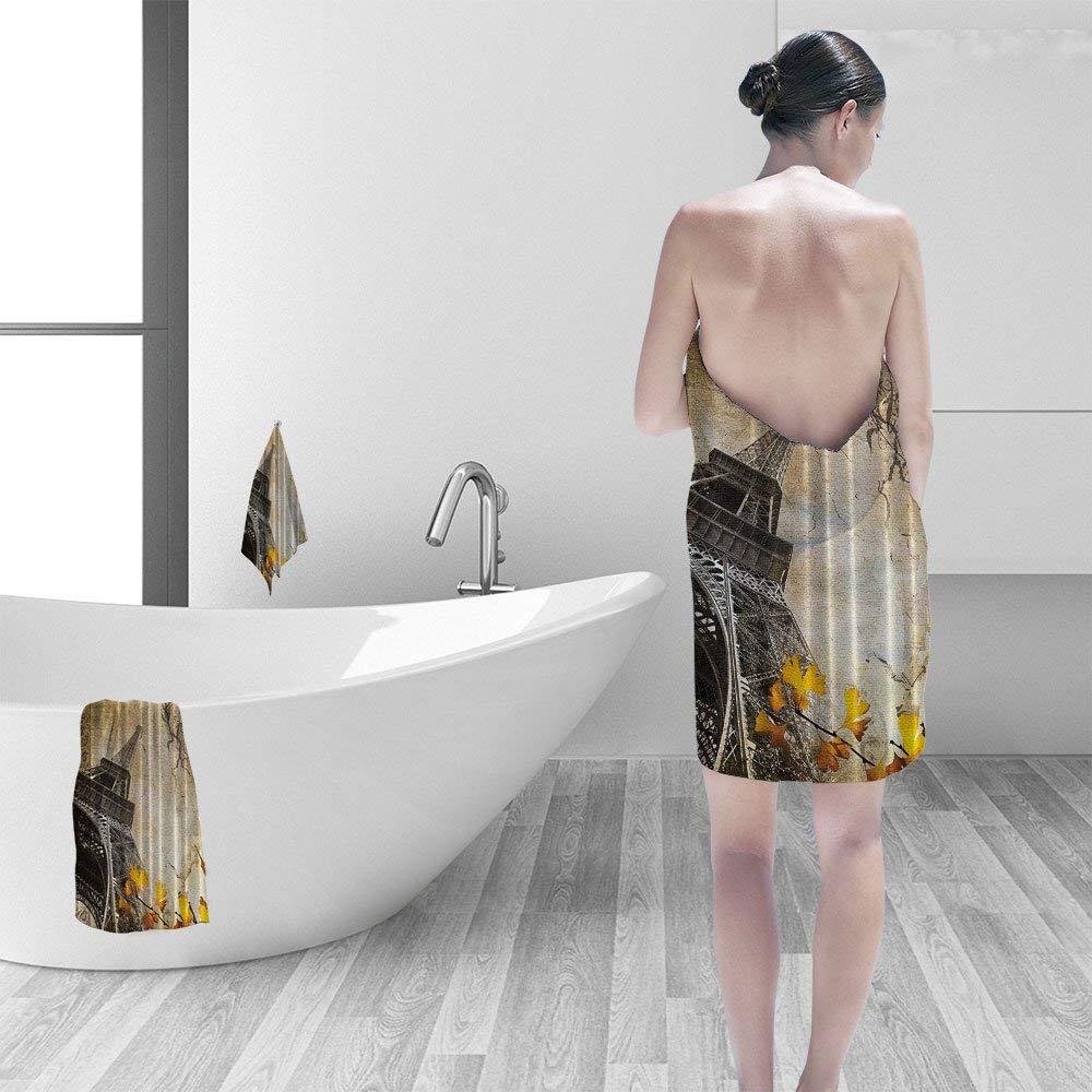 Nalahomeqq Bath towel set Eiffel Tower Paris Decor Cityscape Falling Leaves in Romantic Love Autumn Season Printed Art for Girls Boys Fabric Bath Beige Charcoal Yellow Orange