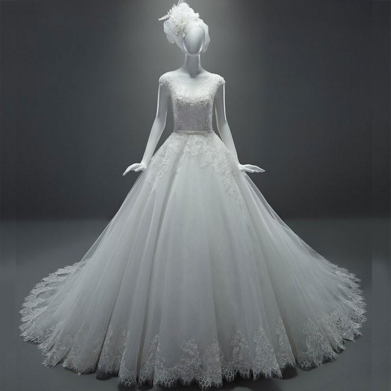 Royal Wedding Ball Gown: WD69 Luxury Elegant White Ball Gown Short Sleeves Royal