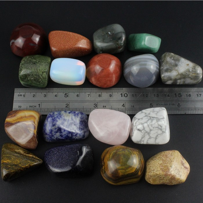 Bulk wholesale polished mixed Assorted 20-25mm natural rock and minerals tumbled <strong>stone</strong> for decor