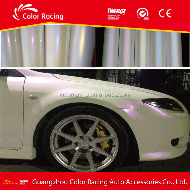 Satin Chameleon Pearl White to Red Polymeric Car Wrap Vinyl With Air Release